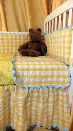 Yellow Seersucker Gingham Baby Bedding...so cheerful:)