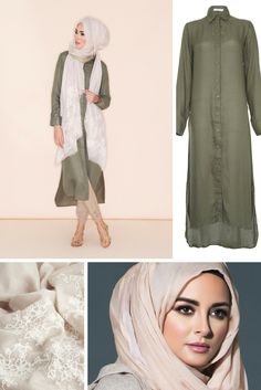 You can't go wrong with a shirt dress, staple for your everyday look, keep it casual or dress it up with our fabulous stoles and silk Hijabs. Soft cotton crepe in an earthy olive green, ideal for summer. Islamic Fashion, Muslim Fashion, Modest Fashion, Girl Fashion, Fashion Outfits, Abaya Mode, Mode Hijab, Casual Hijab Outfit, Hijab Chic