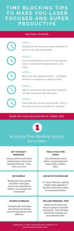 Time Blocking Tips | Are you an entrepreneur who struggles with finding time to focus on your business because you have so many things going on? These time blocking schedule tips will help you stay focused on your business priorities and get a ton of stuff done. Click through to download your time blocking template. Productivity Tips | Infographic #productivity #timemanagement