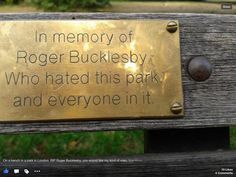 On park bench in London.