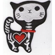 Écusson Ecusson Patche Thermocollant Coeur Chat Squelette