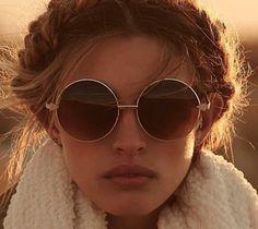 sunglasses boho pretty round sunglasses hair/makeup inspo