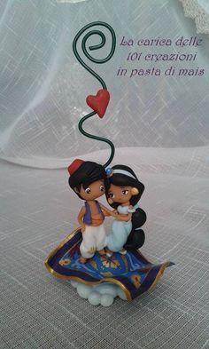 Aladdin snd Jasmine in polymer clay
