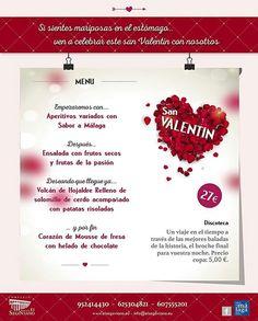 Celebra San Valentín con nosotros. Reservas 952414430 Email reservas@elsegoviano.com,