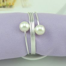 wedding napkin rings pearl 50 pcs a lot novelty table decorative silver and gold napkin rings wedding decoration(China)