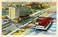 The Buccaneer Hotel and the Pleasure Peir, Galveston, Texas