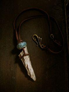 Strength of Artemis  Antler Tip Necklace by EireCrescent on Etsy, $22.99