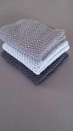 Karklude – lækre og nemme | Fru Ø Knitted Washcloth Patterns, Baby Boy Knitting Patterns, Knitted Washcloths, Crochet Dishcloths, Crochet Kitchen, Crochet Home, Diy Crochet, Easy Crochet Blanket, Crochet Blanket Patterns