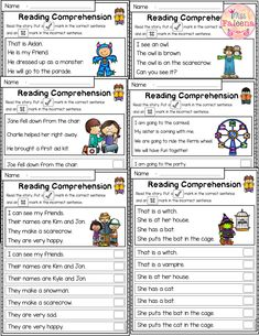 October Reading Comprehension Passages is suitable for Kindergarten students or beginning readers. This product is helping children to sharpen reading and comprehension. Children have to put a check mark in the correct sentence and an x mark in the incorrect sentence. It can be used for class time worksheets, morning work or homework.  Preschool   Preschool Worksheets   Kindergarten   Kindergarten Worksheets   First Grade    Reading   Fall Reading Comprehension Passages Kindergarten Classroom Management, Kindergarten Lesson Plans, Kindergarten Worksheets, Kindergarten Teachers, Classroom Ideas, Reading Comprehension Passages, Picture Comprehension, Kids English, English Class