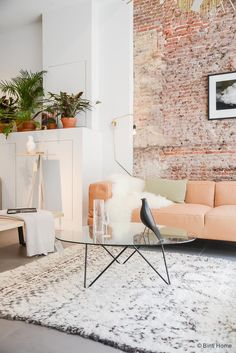 How to incorporate a single exposed-brick accent wall in a totally natural way: pair it with a sofa that subtly brings out its softest, glowiest hues.