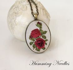 Humming Needles: Rose silk embroidery pendant by Mánya