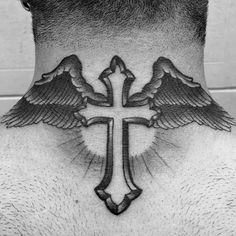 50 Traditional Neck Tattoos For Men Old School Ink Ideas Hello! Here we have best wallpaper about angel tattoo designs on neck. We hope the. Tattoos For Guys Badass, Neck Tattoo For Guys, Back Of Neck Tattoo, Tattoo Guys, Cross Tattoo Designs, Angel Tattoo Designs, Tattoo Designs Men, Cross Tattoo Neck, Bird Tattoo Back
