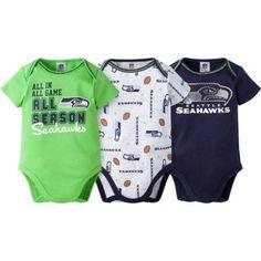 NFL Seattle Seahawks Baby Boys Short Sleeve Bodysuit Set, 3-Pack, Infant Boy's, Size: 3 - 6 Months, Blue