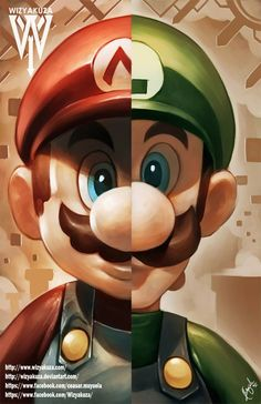 Mario/Luigi by Wizyakuza Super Mario Bros, Super Mario World, Super Mario Brothers, Super Smash Bros, Mario Y Luigi, Mega Pokemon, Mario Party, Fan Art, Video Game Art