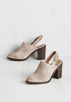 Dapper Divergence Heel. Looking posh and polished doesnt have to mean following a pattern - and these suede slingbacks by Report Footwear are your dashing deviation from the norm. #grey #modcloth