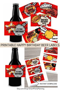 Looking for some beer gift ideas for him? These happy birthday beer labels are the perfect gift for those that love their beer. The fun superhero designs will make him smile. Simply add them to a favorite pack of beer. The instant printable download makes them quick and easy to prepare and also perfect as a last minute gift. Give the gift that will actually want to be received.
