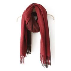 With Tassel Wine Red Scarf ($9.90) ❤ liked on Polyvore featuring accessories, scarves, red, red shawl, tassel scarves and red scarves