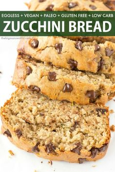BEST Chocolate Chip Zucchini Bread Recipe that is healthy, eggless, sugar free a. - BEST Chocolate Chip Zucchini Bread Recipe that is healthy, eggless, sugar free and low carb! Gluten Free Zucchini Bread, Chocolate Chip Zucchini Bread, Zucchini Bread Recipes, Vegan Zucchini, Banana Zucchini Bread Healthy, Low Calorie Banana Bread, Healthy Bread Recipes, Best Keto Bread, Vegan Bread