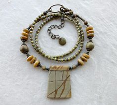 Picasso Jasper Pendant Necklace in yellow and gray