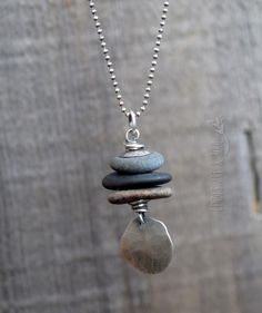 Rock Stack Necklace Long Chain Necklace Sterling Silver Rock Jewelry, Wire Jewelry, Gemstone Jewelry, Recycled Jewelry, Handmade Jewelry, Jewelry Trends, Jewelry Ideas, Etsy Necklaces, Stacked Necklaces