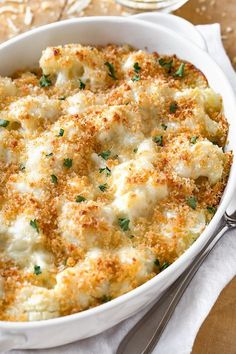casserole recipes This creamy and delicious cauliflower casserole with a crisp panko and parmesan topping is a scrumptious way to turn cauliflower into a cheesy side dish! Side Dish Recipes, Vegetable Recipes, Vegetarian Recipes, Cooking Recipes, Healthy Recipes, Good Recipes, Best Dinner Recipes Ever, Chicken Recipes, Cooking Corn