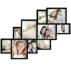 Furnistar 10-Opening Collage Picture Frame PF0018. This cluster-effect frame is a modern and stylish addition to the living room or kitchen. Showcase your favorite moments from a recent holiday or a fun array of family photos. Slim black frames hold ten images of various sizes (four 8x10 five 5x7 and one 4x6) nestled together in a cascading diagonal arrangement. With this dynamic collage already arranged for you you can spend your time creating more photographic memories! This frame is a...