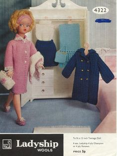 Doll Knitting Pattern Clothes for Teenage Doll Vintage. Trousers and Jacket Doll Knitting Pattern Doll's outfit patterns including poncho, bikini and french berets, striped top and trousers. Vintage knitting patterns for coats. Barbie Knitting Patterns, Knitted Doll Patterns, Knitting Dolls Clothes, Barbie Clothes Patterns, Crochet Barbie Clothes, Knitted Dolls, Clothing Patterns, Fashion Patterns, Dress Patterns