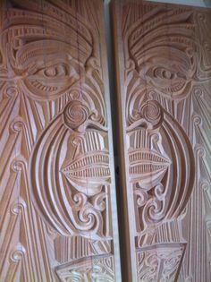 Pou for Matahiwi Marae Hastings Meihana - Totara CNC carved  Jacob Scott 2013