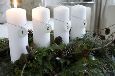 Day 1: Natural Advent Decoration with four Candles. via Songbird blog #12daysofchristmas