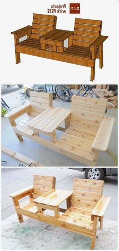 Plans of Woodworking Diy Projects - DIY Double Chair Bench with Table Free Plans Instructions - Outdoor Patio #Furniture Ideas Instructions Get A Lifetime Of Project Ideas & Inspiration! #outdoordiypatio #WoodworkingDIY #woodworkingbench