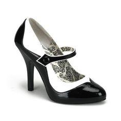 "Bordello 4.5"" Heel Black/White Rockabilly Mj Heels Shoes 6 7 8 9 10 11 12"