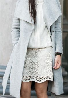 grey coat, sweater, laser cut skirt//