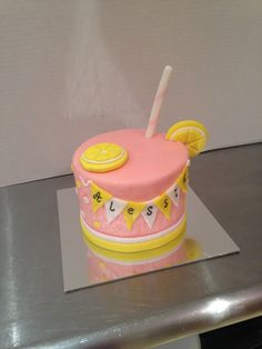 Pink Lemonade Smash Cake. Obviously the girls names will be on their and match the color of the pic birthday cake.