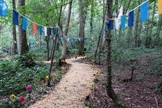 Forest/ woodsy location is perfect for a festival wedding. Winding trail to location keeps it interesting. Bunting guides the way and ads to the theme