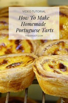 Portugese Custard Tarts, Portuguese Custard Tart Recipe, Portuguese Egg Tart, Portuguese Desserts, Portuguese Recipes, Russian Recipes, Tart Recipes, Sweet Recipes, Baking Recipes