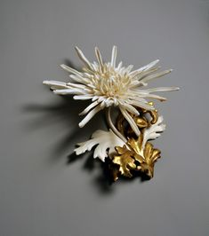 Jennifer Trask Chrysanthemum moriflorium. Object. Bone, (ribs, bacula), antler, 17th & 19th cen. frame fragments, 23.5k gold leaf. 9 x 7 x 4 in.
