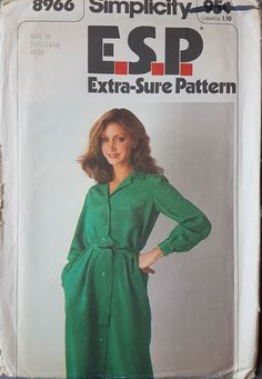 """Multisize - Bust 32.5 34 36"""". Long sleeve shirt dress with tie belt. All patterns are checked for completeness. 