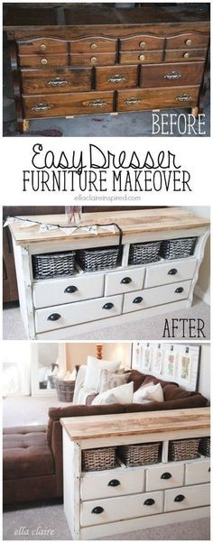 DIY Refinished Side Table With Lots Of Storage. Instead of throwing away the dated old dresser, you can turn it into a genius side table with lots of storage! Love the vintage and shabby chic look! Good transformation piece!