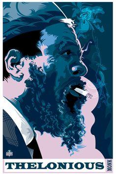 Thelonius Monk - Jazz Legends by Garth Glazier, via Behance