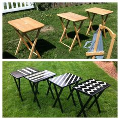 Before and After of the TV Trays I repainted.