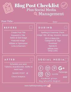 Blog Post Checklist + Social Media Management