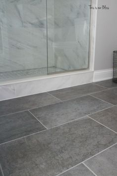 tile & gray tile floor - Color idea - Like the whtie tiles in shower to keep color from getting too dark with cool gray tile floor.