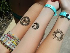 Sun, moon, and stars. A three-person tattoo. Not sure if we would get this, but I do really like how the styles are all different.