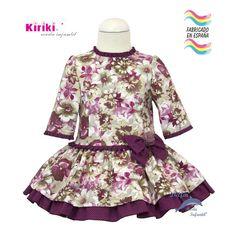 Vestido de niña KIRIKI manga larga y talle bajo estampado