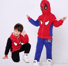e72d5aa4bfef 2018 Baby Boy Girls Clothes Hooded Outfit With Velvet Baby Top+Pants Spider  Man Design Clothing Kids Sport Sets Children Tees 2 16y D0071 From  Jacyfengwu