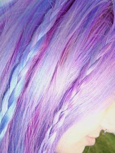 blue purple pink mixture hair color shock with breads