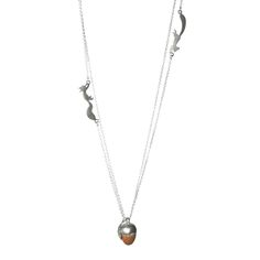 Silver and oak squirrel acorn and leaf necklace