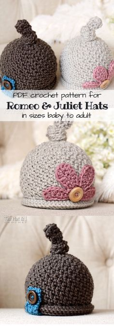 Cute crochet top-knot hat pattern for babies to adults! Love that one pattern has multiple sizes! So adorbs! Love the button and flower details on these lovely little beanies! #etsy #ad #pdf #pattern #crochet #toque #wintercap