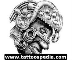 Grey Ink Aztec Face Tattoo Design More Mayan Tattoos, Eagle Tattoos, Aztec Tattoo Designs, Aztec Designs, Carving Designs, Stencil Designs, Latin Tattoo, Azteca Tattoo, Web Tattoo