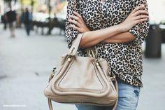 Chloe bag and leopard shirt